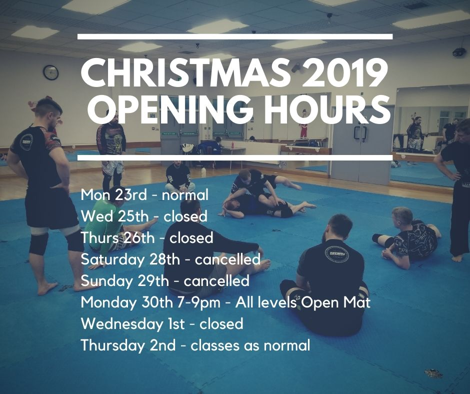 BJJ School Christmas 2019 Opening Hours